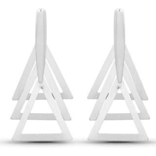 Liliana Bella Silvertone Fashion Dangle Triangle Shape Earrings
