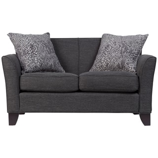 Porter Medusa Charcoal Grey Mid Century Modern Loveseat with 2 Woven Snakeskin Accent Pillows