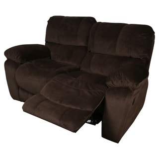 Porter Ramsey Cocoa Brown Microfiber Dual Reclining Loveseat