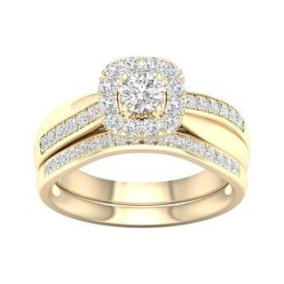 De Couer 5/8ct TDW Diamond Halo Bridal Set - Yellow