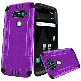 Insten Purple/ Black Hard Snap-on Dual Layer Hybrid Case Cover For LG V20
