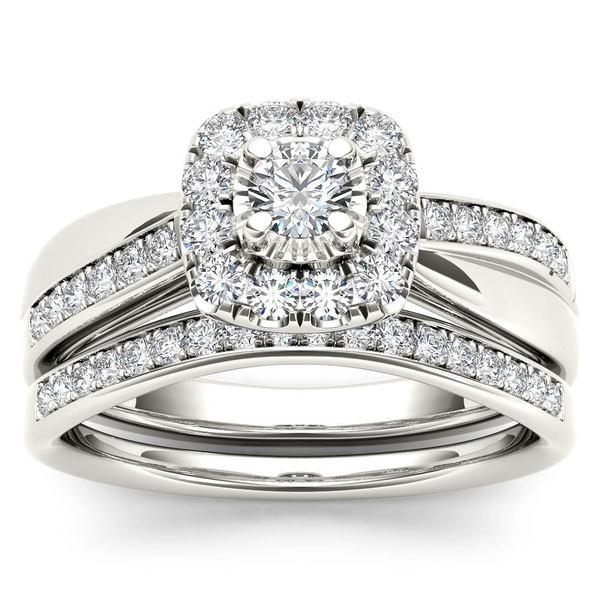 De Couer 5/8ct TDW Diamond Halo Bridal Set - White