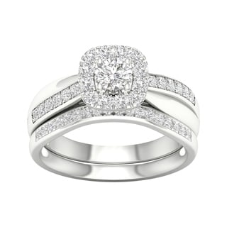 De Couer 5/8ct TDW Diamond Halo Bridal Set - White