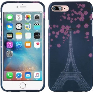 Insten Blue/ Pink Cherry Blossom Hard Snap-on Rubberized Matte Case Cover For Apple iPhone 7