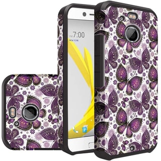 Insten Purple/ White Butterfly Flower Hard PC/  Silicone Dual Layer Hybrid Rubberized Matte Case Cover For HTC 10/ Bolt