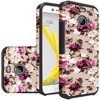 Insten Purple/ White Roses Hard PC/  Silicone Dual Layer Hybrid Rubberized Matte Case Cover For HTC 10/ Bolt