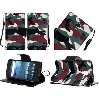 Insten Green/ Brown Camouflage Leather Case Cover Lanyard with Stand For ZTE Avid/ Cheers/ Trio