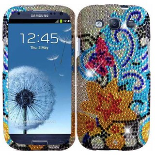 Insten Blue/ Yellow Lily Hard Snap-on Rhinestone Bling Case Cover For Samsung Galaxy S3