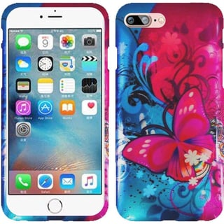 Insten Blue/ Hot Pink Butterfly Bliss Hard Snap-on Rubberized Matte Case Cover For Apple iPhone 7 Plus