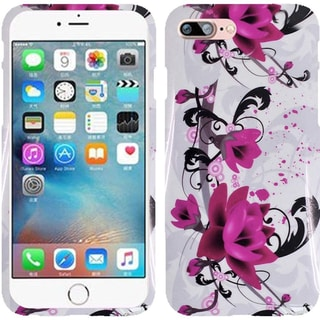 Insten Purple/ White Lily Hard Snap-on Rubberized Matte Case Cover For Apple iPhone 7