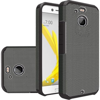 Insten Black Carbon Fiber Hard PC/ Silicone Dual Layer Hybrid Rubberized Matte Case Cover For HTC 10/ Bolt