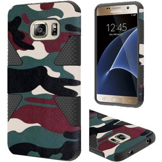 Insten Green/ Black Camouflage Dynamic Hard PC/  Silicone Dual Layer Hybrid Rubberized Matte Case Cover For Samsung Galaxy S7