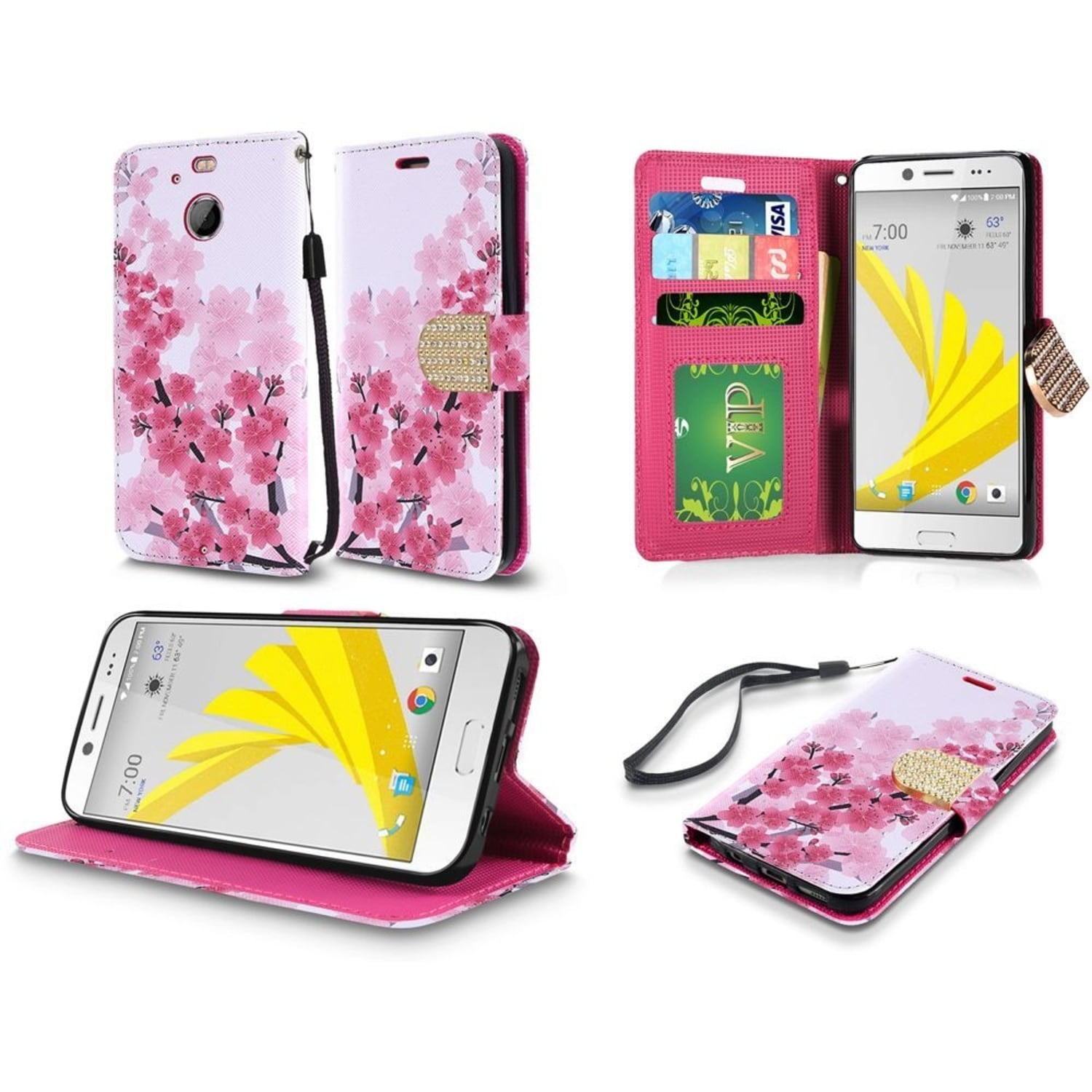 Insten Pink Cherry Blossom Leather Case Cover Lanyard wit...