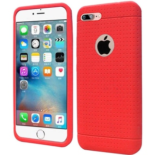 Insten Red Rugged Soft Silicone Skin Rubber Case Cover For Apple iPhone 7 Plus