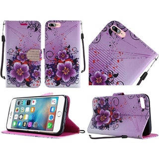Insten Purple Flowers Leather Case Cover Lanyard with Stand/ Diamond For Apple iPhone 7 Plus