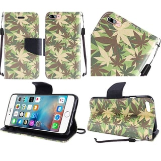 Insten Green/ White Camouflage Leather Case Cover Lanyard with Stand For Apple iPhone 7 Plus