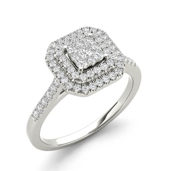 De Couer 1/4ct TDW Diamond Double Halo Engagement Ring - White H-I