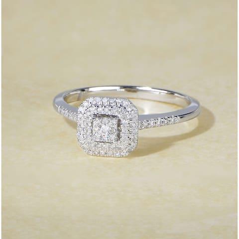 De Couer IGI Certified 1/4ct TDW Diamond Double Halo Engagement Ring - White H-I - White H-I