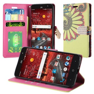 Insten Yellow Antique Flower Leatherette Case Cover with Stand/ Wallet Flap Pouch/ Diamond For ZTE Blade Spark/ Grand X 4 Z956