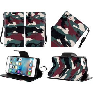 Insten Green/ Black Camouflage Leather Case Cover Lanyard with Stand For Apple iPhone 7 Plus