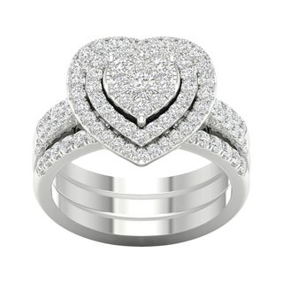 Link to De Couer 1ct TDW Heart Shaped Cluster Halo Bridal Set Similar Items in Wedding Rings