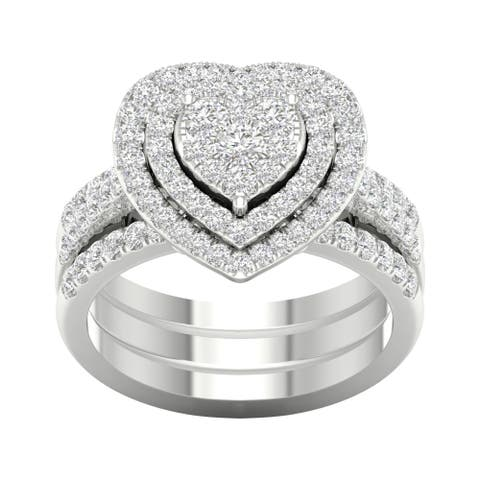 De Couer 1ct TDW Heart Shaped Cluster Halo Bridal Set - White H-I