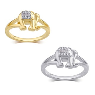 Divina Silver Overlay and 14k Goldtone Diamond Accent Elephant Ring