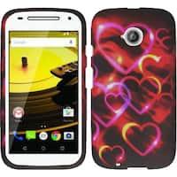 Insten Hot Pink/ Black Hearts Hard Snap-on Rubberized Matte Case Cover For Motorola Moto E(2nd Gen)
