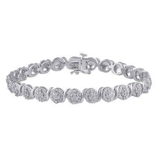 Divina Silver Overlay 1ct TDW White Diamond Cluster Fashion Bracelet
