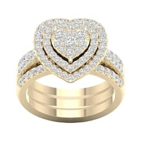 De Couer 1ct TDW Heart Shaped Cluster Halo Bridal Set - Yellow