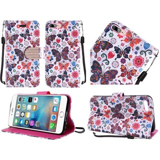 Insten Purple/ White Butterfly Flower Leather Case Cover Lanyard with Stand/ Diamond For Apple iPhone 7 Plus