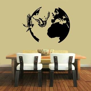 Birds Sticker Peace Symbol Dove Flying Around Globe Kid Wall Home Decor Art Nursery Room Sticker Dec