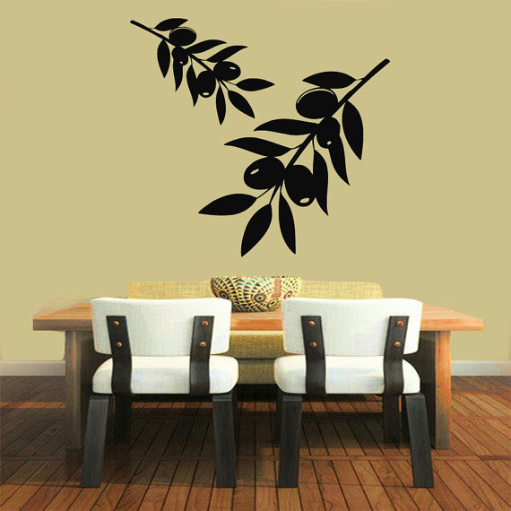 Olive Tree Stickers Kitchen Wall Decor Floral Interior Home Vinyl ...