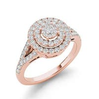 De Couer 3/4ct TDW Diamond Cluster Engagement Ring - Pink