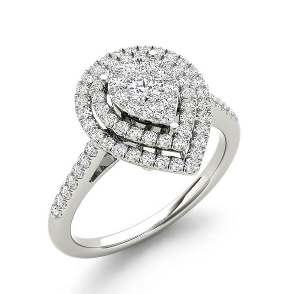 De Couer 13ct TDW Diamond Cluster PearShaped Frame Engagement Ring