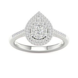 De Couer 1/3ct TDW Diamond Cluster Pear-Shaped Frame Engagement Ring