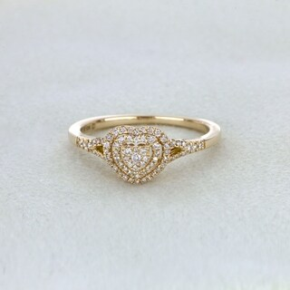 De Couer 1/4ct TDW Diamond Cluster Heart Shape Engagement Ring - Yellow