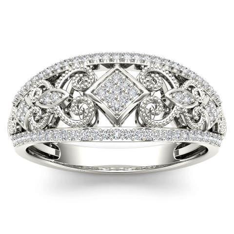 De Couer IGI Certified 1/5ct TDW Diamond Fashion Engagement Ring - White H-I