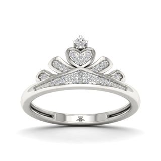 De Couer 1/10ct TDW Diamond Crown Ring for Her - White