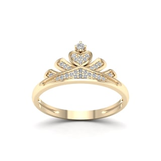 De Couer 1/10ct TDW Diamond Crown Ring for Her - Yellow