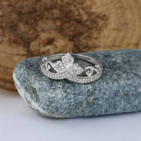 De Couer IGI Certified 1/8ct TDW Diamond Crown Ring for Her