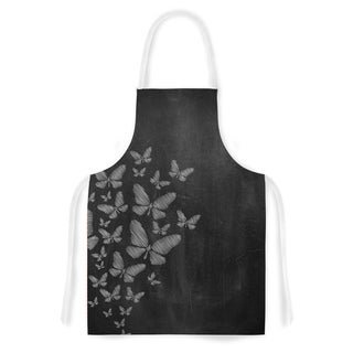 Kess InHouse Snap Studio Butterflies IV White Chalk Artistic Apron