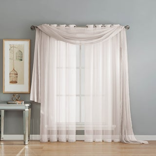 Window Elements Diamond Sheer Voile Rod Pocket Curtain Panel Pair