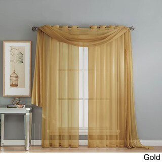 Window Elements Diamond Sheer Voile 112 x 84 in. Rod Pocket Curtain Panel Pair - 112 x 84
