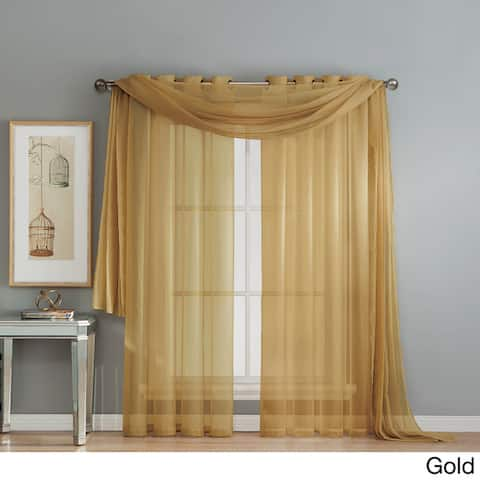 Window Elements Diamond Sheer Voile 112 x 84 in. Rod Pocket Curtain Panel Pair - 112 x 84 - 112 x 84