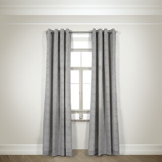 L and R Home Harlequin Taupe 84-inch Grommet-top Curtain Panel Pair