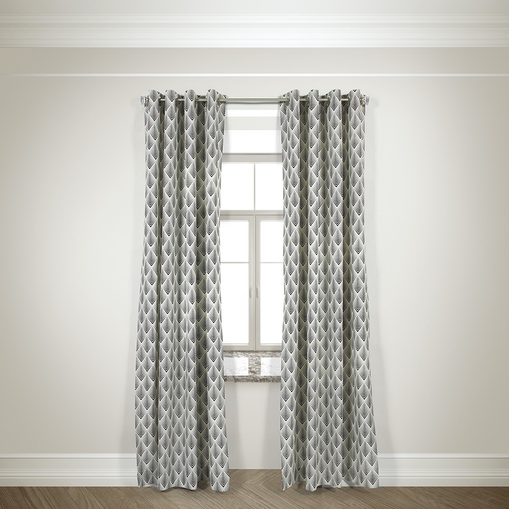 L and R Home Harlequin Black 84-inch Grommet-top Curtain ...