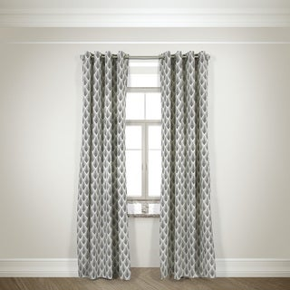 L and R Home Harlequin Black 84-inch Grommet-top Curtain Panel Pair