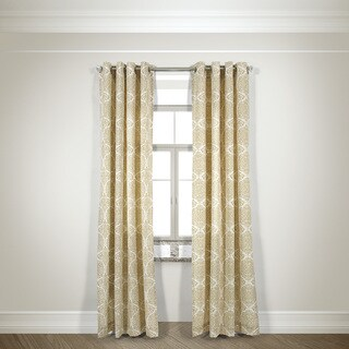 L and R Home Harlequin Beige Grommet top 84-inch Curtain Panel Pair