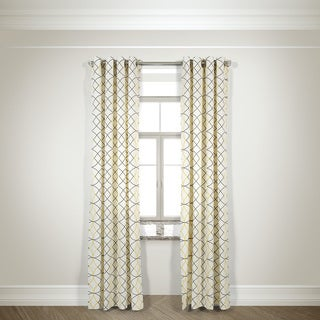 L and R Home Harlequin Grey and Yellow Grommet Top 84-inch Curtain Panel Pair